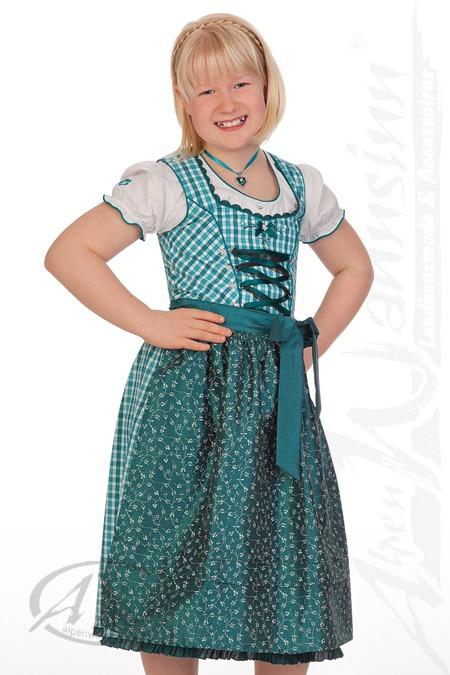 Spieth & Wensky Trachten Kinderdirndl 3tlg. - WICHTEL - fuchsia, petrol, Petrol, 128